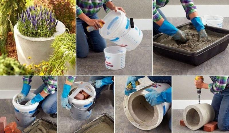 Другая техника создания вазона из бетона