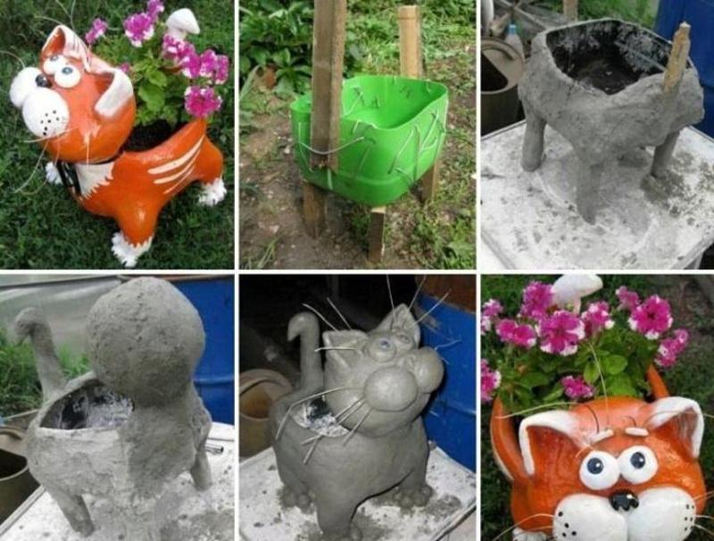 Вазон-скульптура в виде кошки