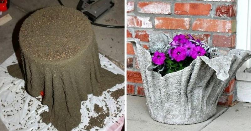 Вазон для сада из ткани и цемента