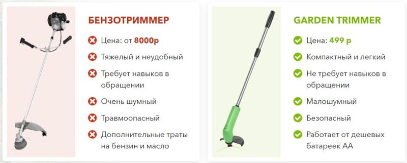 Отличия Garden Trimmer от бензотримера