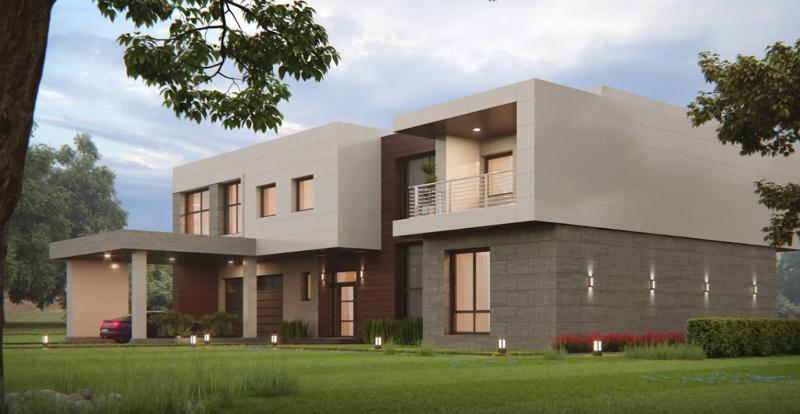 Фасад дома из модульной навесной системы