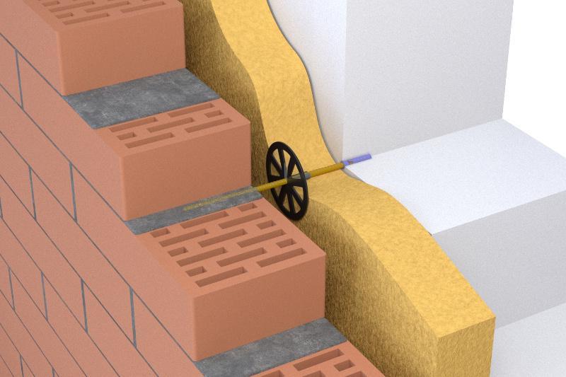 Жесткая связь облицовочного кирпича с несущей стеной