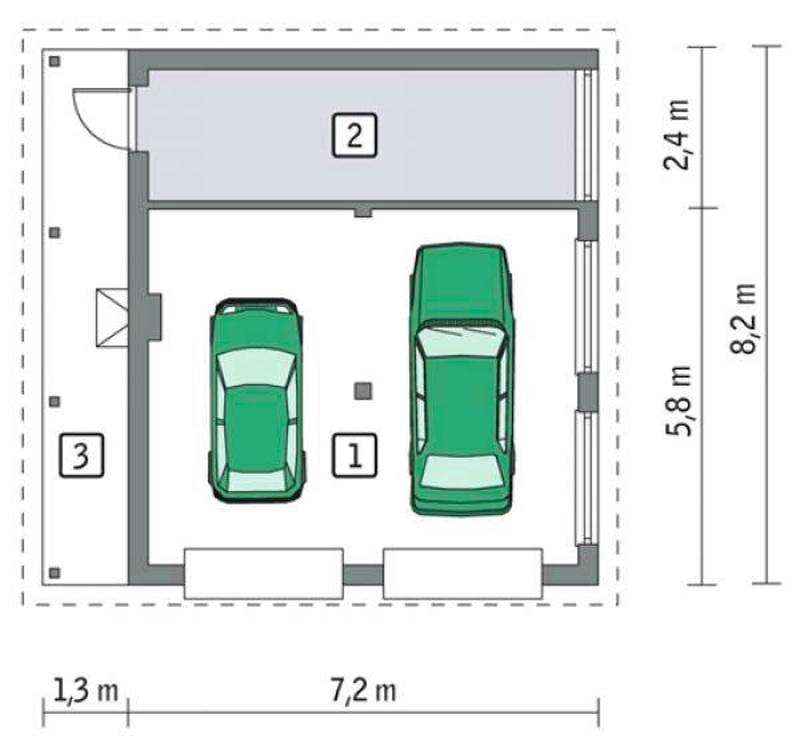 Схема гаража с колонной