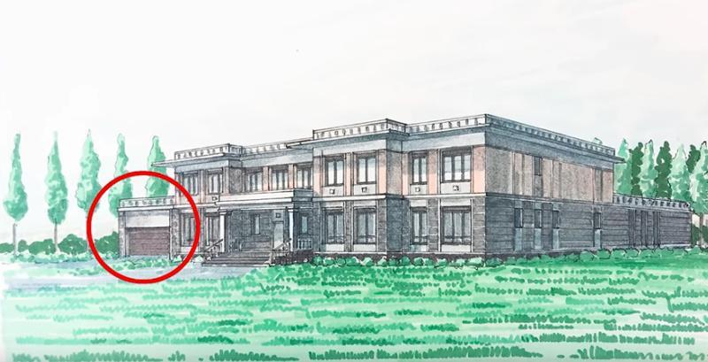 Пристройка гаража к классической архитектуре