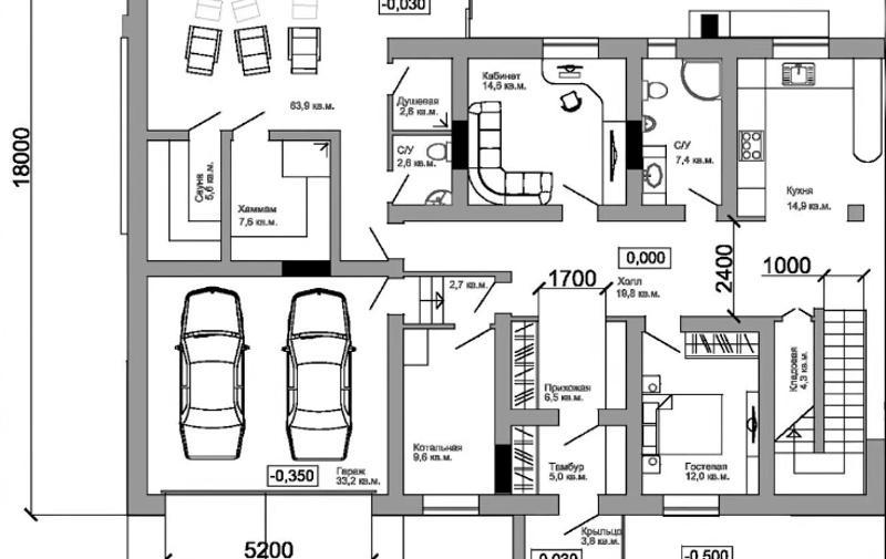 Планировка гаража в доме с тамбуром