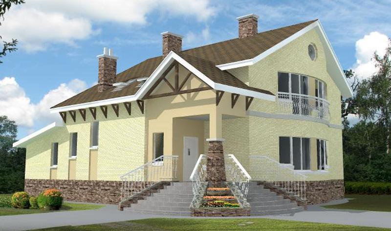 Проект двухэтажного дома 237,7 м2 с баней хамамом и зимним садом