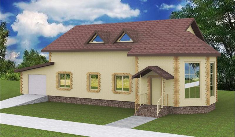 Проект двухэтажного дома - бани на 292,6 м2 с гаражом и мансардой
