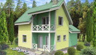 Проект двухэтажного дома на 104,79 м2 с мансардой и террасой