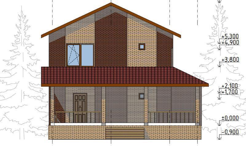 Проект двухэтажного дома на 169,6 кв метров с террасой
