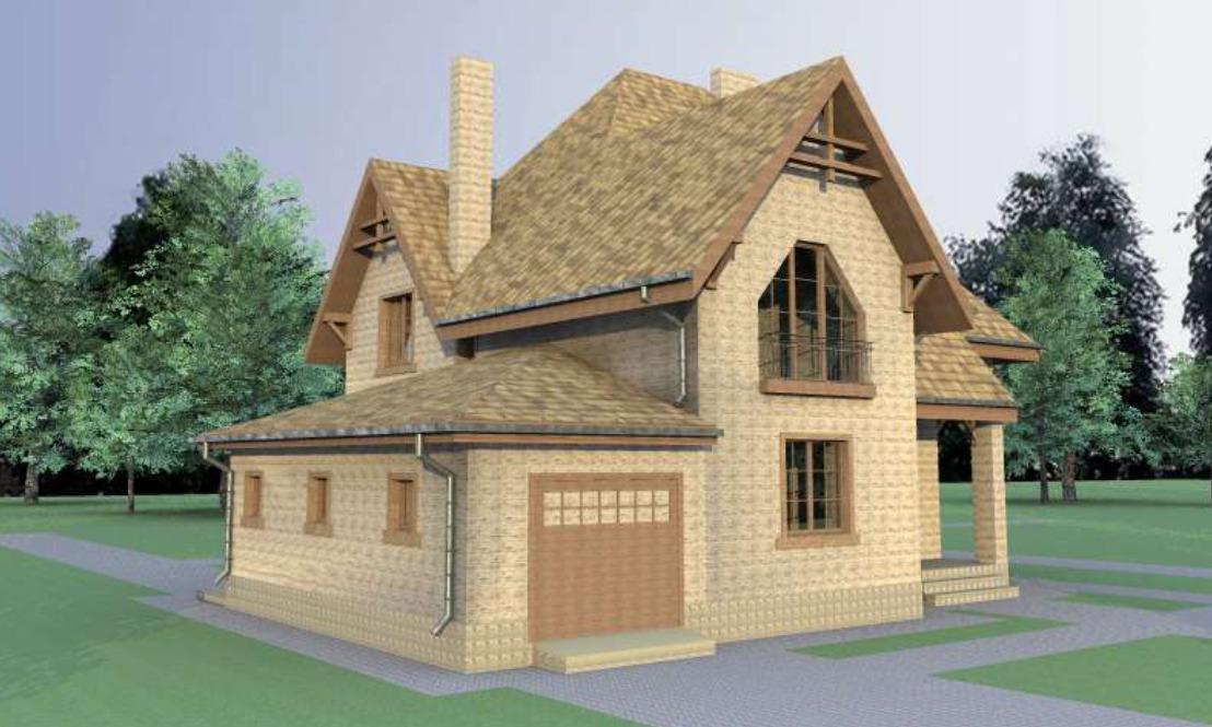 Проект двухэтажного дома на 202 м2 с гаражом и мансардой