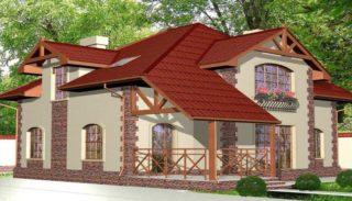 Проект двухэтажного дома на 208 м2 с мансардой и террасой