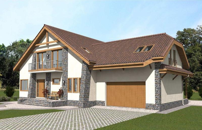 Проект двухэтажного дома на 374,23 м2 с мансардой и гаражом