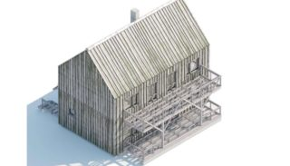 Проект двухэтажного дома в стиле барнхаус на 132,87 м2 с мансардой и террасой