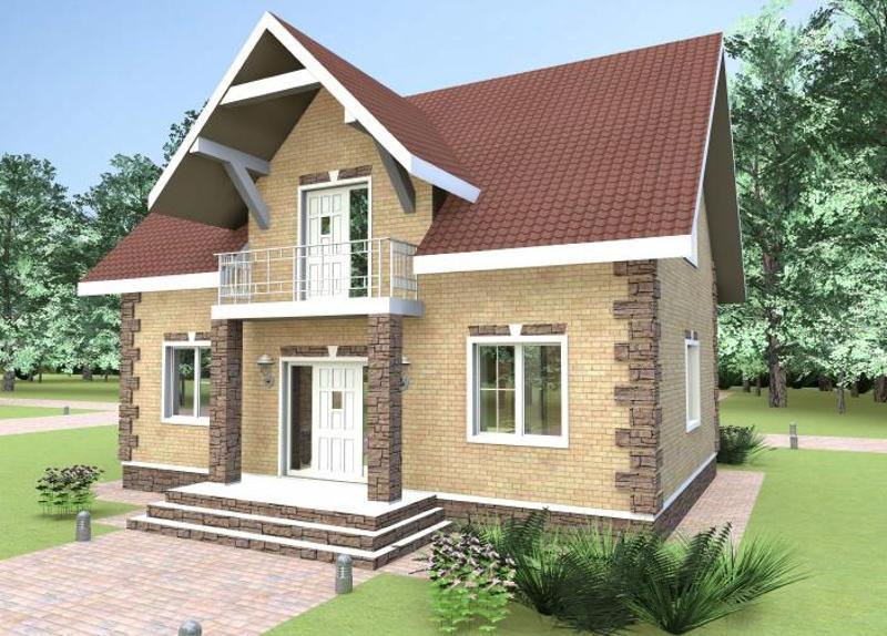 Проект простого двухэтажного дома 148,5 м2 с мансардой
