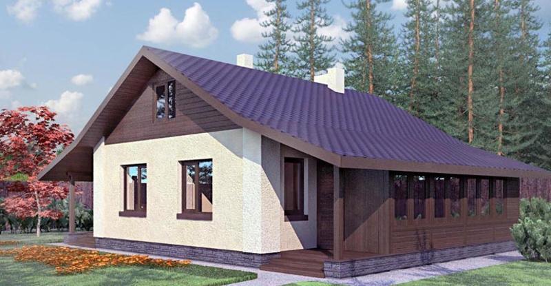 Проект простого одноэтажного дома 55 м2 со схемой постройки печи