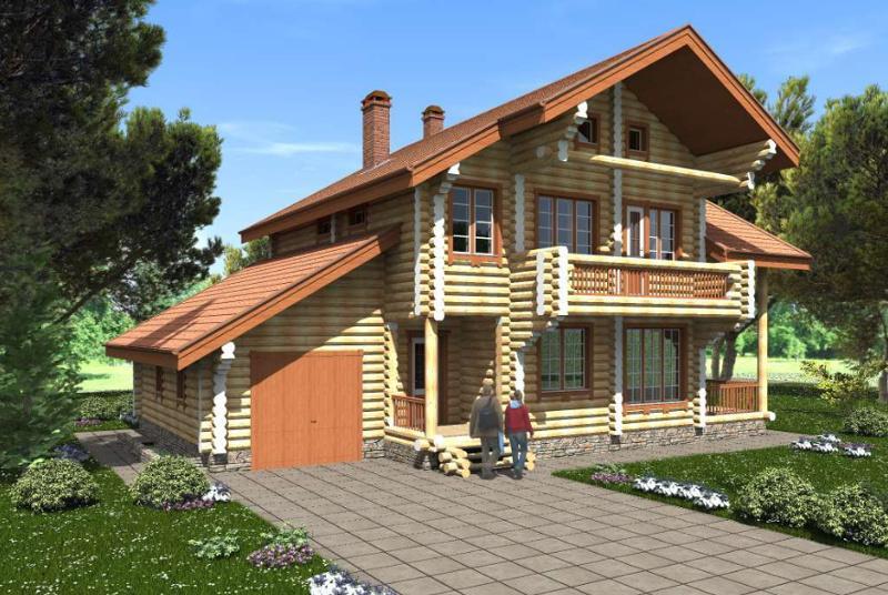 Проект трехэтажного дома на 258 м2 с мансардой и гаражом