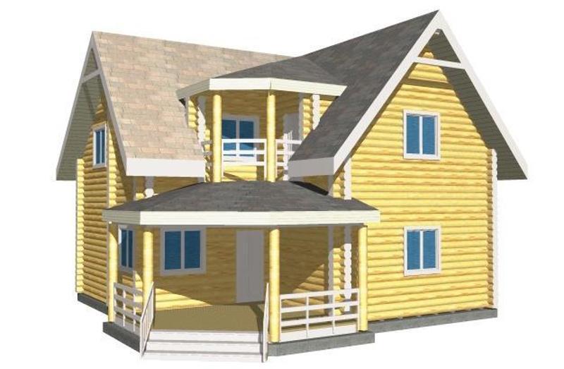 Проект деревянного дома на 135,13 м2 с мансардой и верандой