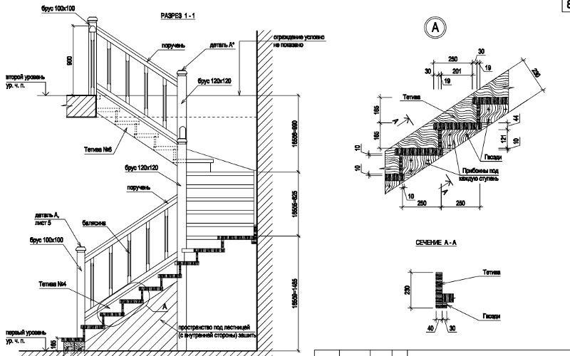 Проект деревянной лестницы на второй этаж