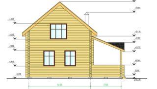Проект дома-бани из бруса на 68,6 м2 с террасой и мансардой