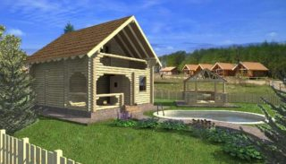 Проект дома-бани на 65,2 м2 с террасой и балконом