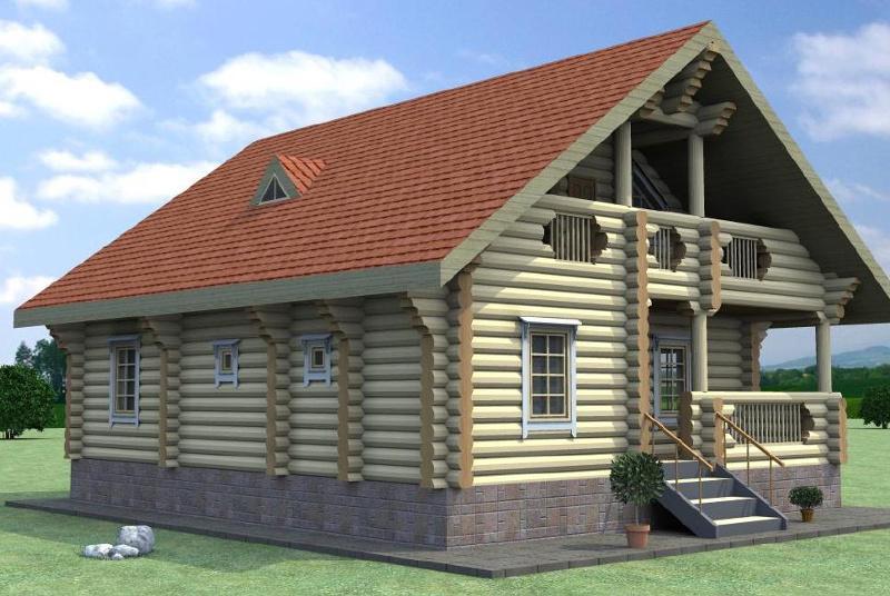 Проект дома-баня из рубленного бревна на 159,6 м2 с мансардой и террасой