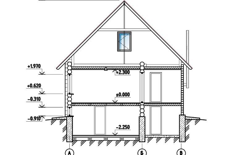 Проект дома из бревна на 117,8 м2 с цокольным этажом