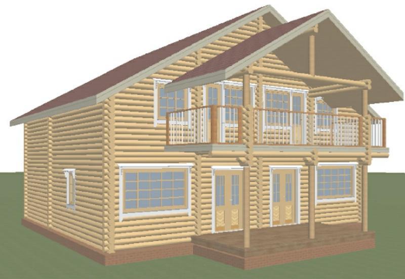 Проект дома из оцилиндрованного бревна на 264,29 м2 с мансардой и сауной