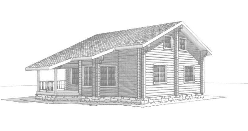 """Проект дома из оцилиндрованного бревна на 81,5 м2 в стиле """"Кантри"""" с верандой и мансардой"""
