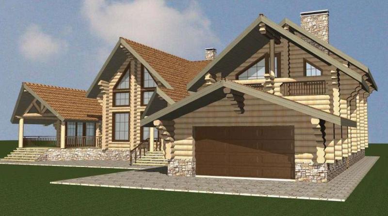 Проект дома из рубленного бревна на 507,83 м2 с мансардой и гаражом на два автомобиля