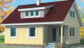 Проект дома на 124,9 м2 каркасный с мансардой и верандой