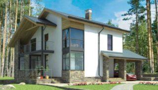 Проект каркасного дома-бани на 174,9 м2 с террасой и навесом для автомобиля