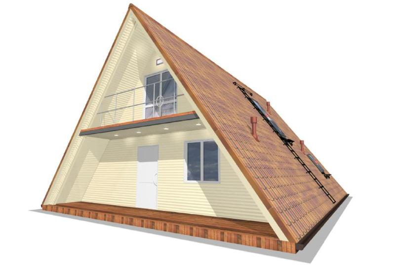 """Проект коттеджа """"Асерия"""" в форме треугольника из сэндвич-панелей на 157 м2"""