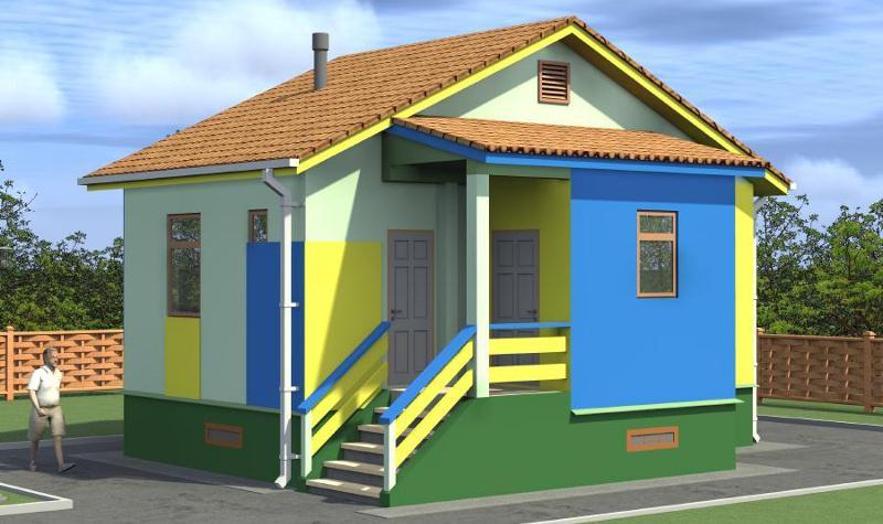 Проект маленького однокомнатного панельного дома на 39,08 м2 с крыльцом