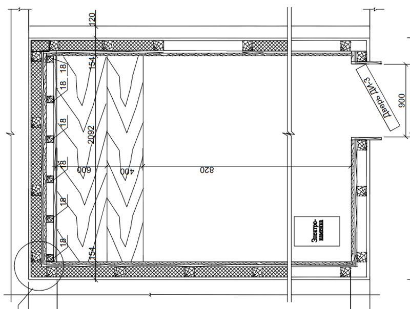 Проект встроенной сауны на 5,28 м2 с деревянными стенами